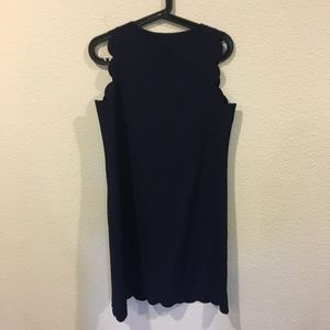 Dresses - Navy scalloped mini dress